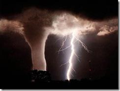 lightning strikes tornado