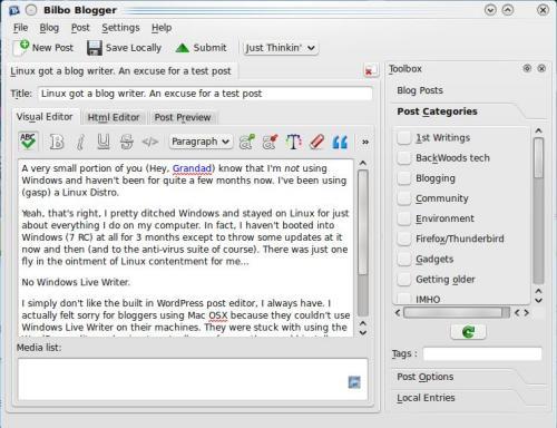 Blogilo-A KDE Blogging Client